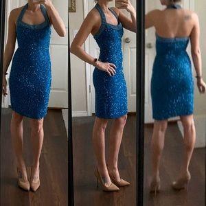 Vintage Alyce blue silk beaded sequin dress